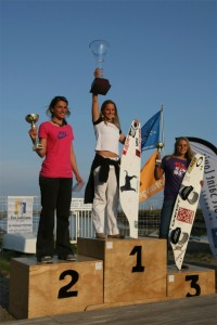 Melissa takes 1st place for a kiteboarding competition