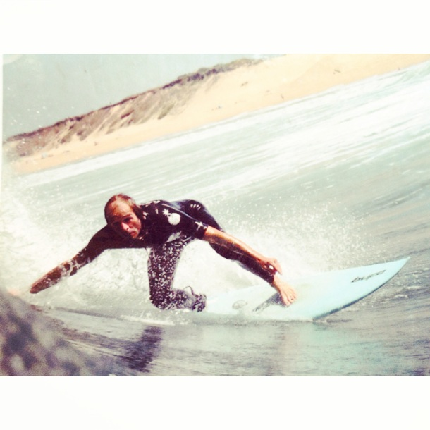 Happy Gone surfing at shifting Sand Surf House, Hossegor, France